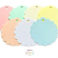 50 Round Scalloped Pastel Colour Gift Tags
