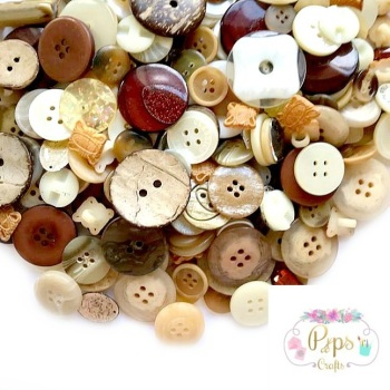100 Assorted Mixed Brown Colour Buttons