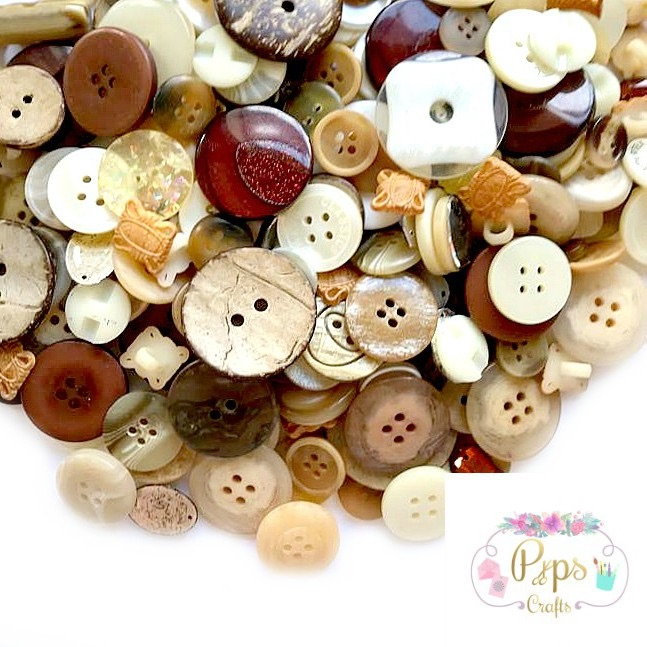 50g Assorted Mixed Brown Colour Buttons