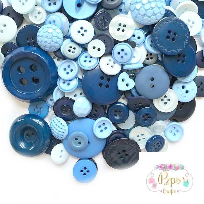 50g Assorted Mixed Blue Buttons