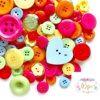 100 Assorted Mixed Bright Colour Buttons