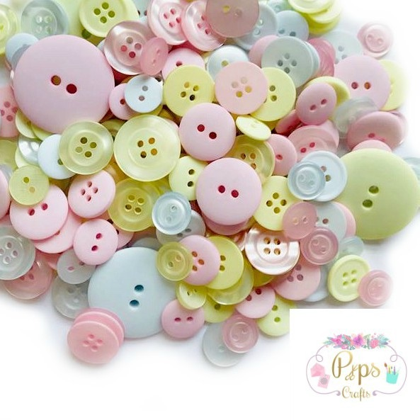 50g Assorted Mixed Pastel Colour Buttons