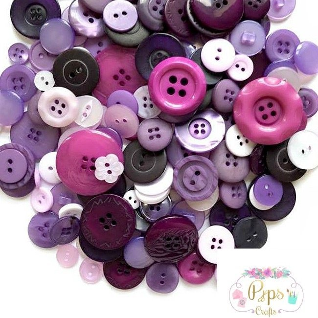 50g Assorted Mixed Purple Colour Buttons