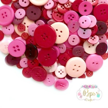 100 Assorted Mixed Red/Pink Buttons