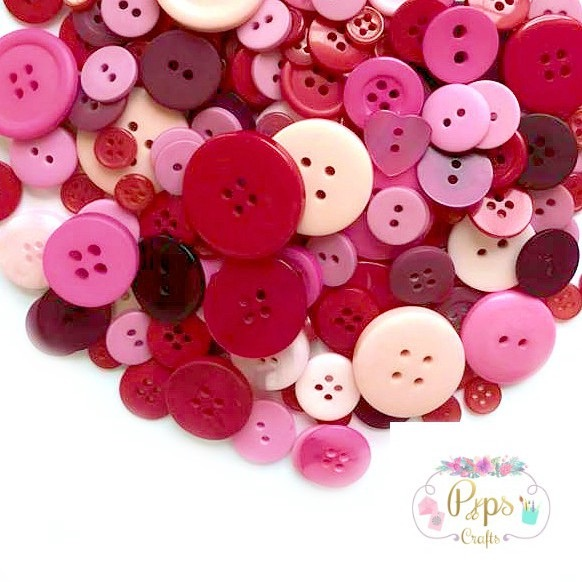 50g Assorted Mixed Red/Pink Buttons