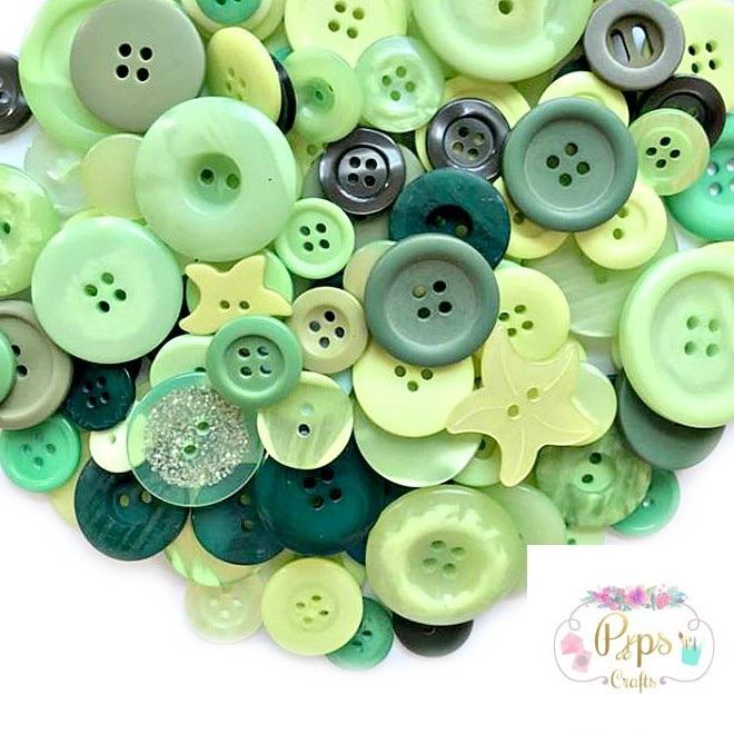 50g Mixed Green Colour Buttons