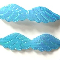 Shimmer Fabric Angel Wings 6cm - Turquoise