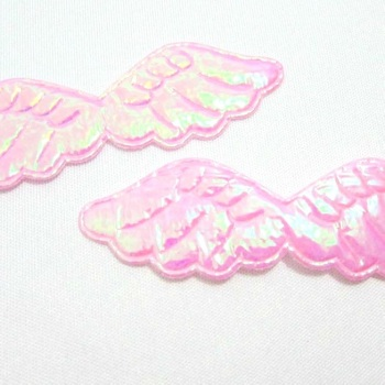 Shimmer Fabric Angel Wings 6cm - Light Pink
