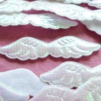 Shimmer Fabric Angel Wings 6cm - White