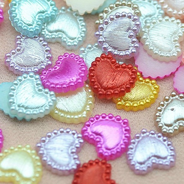 Resin Flat Back Pearlescent Hearts - 10mm