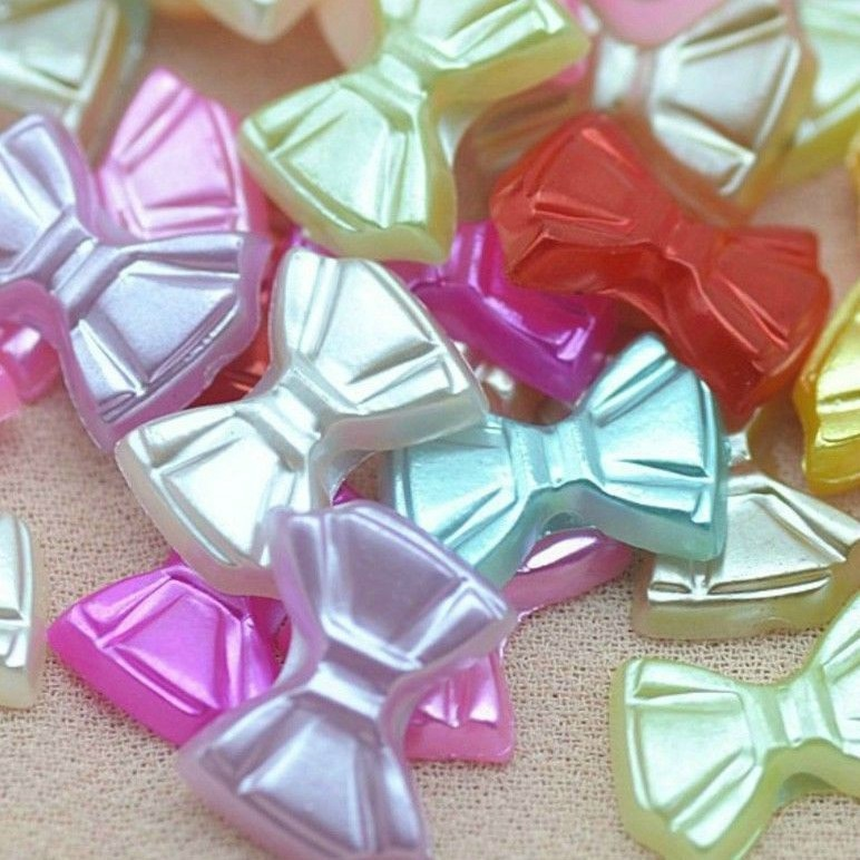 Resin Flat Back Pearlescent Mini Bows - 12mm