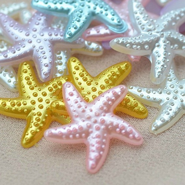 Resin Flat Back Pearlescent Starfish - 18mm
