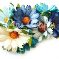 Mulberry Paper Chrysanthemum Flowers - Wire Stem 45mm Mixed Blues