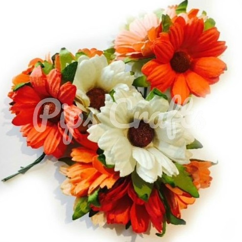 Mulberry Paper Chrysanthemum Flowers - Wire Stem 45mm Mixed Orange