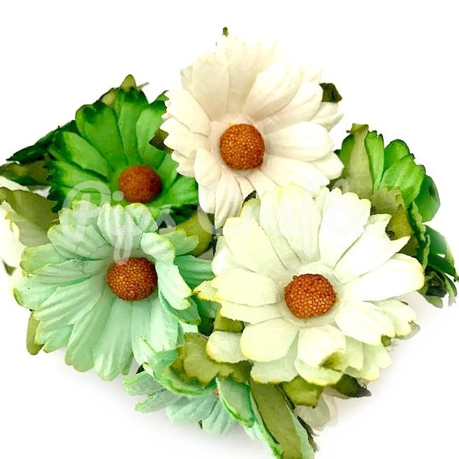 Mulberry Paper Chrysanthemum Flowers - Wire Stem 45mm Mixed Green