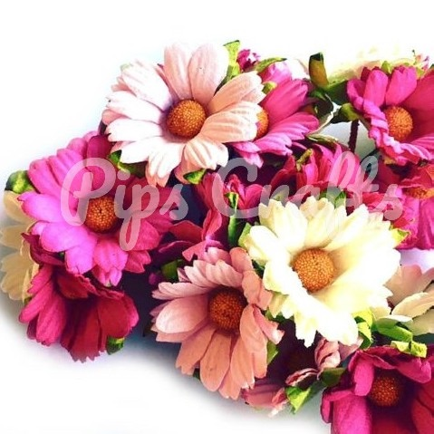 Mulberry Paper Chrysanthemum Flowers - Wire Stem 45mm Mixed Pinks