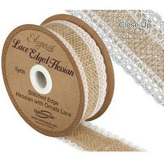 Hessian Burlap Lace Edge Ribbon - 36mm