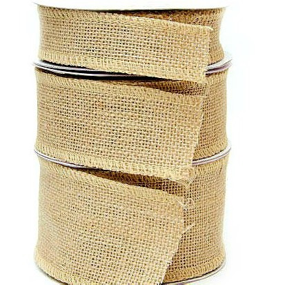 Hessian Burlap Wire Edge Ribbon - 50mm