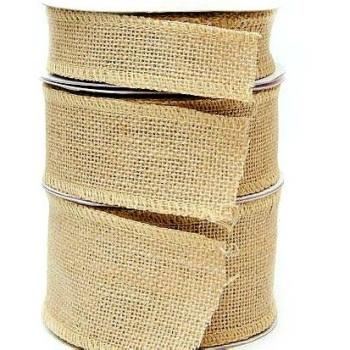 Hessian Burlap Wire Edge Ribbon - 70mm