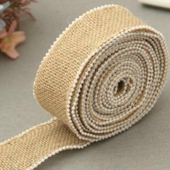 Hessian Burlap Pearl Edge Ribbon - 45mm