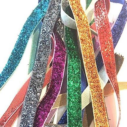 Velvet Glitter Ribbon Offcuts - 10mm