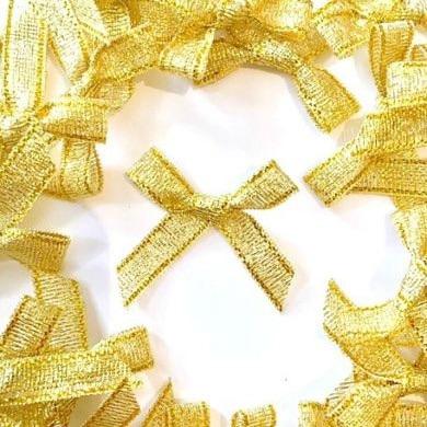 Mini Satin Fabric 7mm Ribbon Bows - Gold Lurex