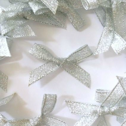Mini Satin Fabric 7mm Ribbon Bows - Silver Lurex
