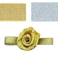 Mini Satin Ribbon Roses With Leaf 25mm - Gold Lurex