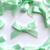 Mini Satin Fabric 7mm Ribbon Bows - Mint Green
