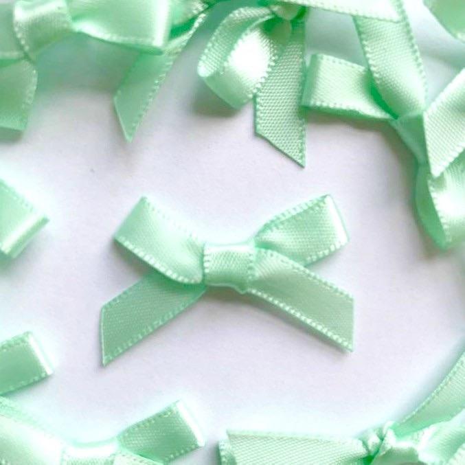 Mini Satin Fabric 7mm Ribbon Bows - Mint Green
