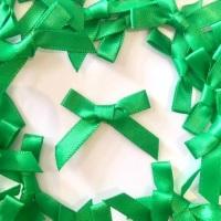 Mini Satin Fabric 7mm Ribbon Bows - Green
