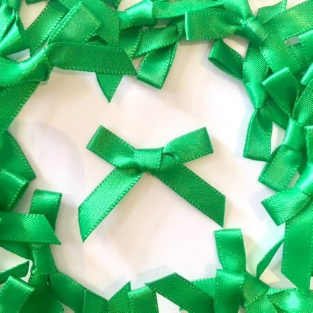 Mini Satin Fabric 7mm Ribbon Bows - Green