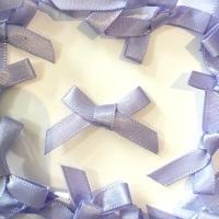 Mini Satin Fabric 7mm Ribbon Bows - Lavender