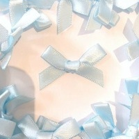 Mini Satin Fabric 7mm Ribbon Bows - Light Blue