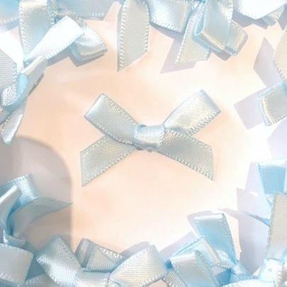 Mini Satin Fabric 7mm Ribbon Bows - Light Blue