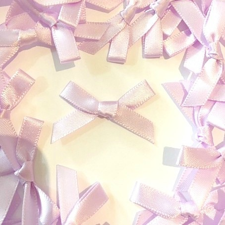 Mini Satin Fabric 7mm Ribbon Bows - Lilac