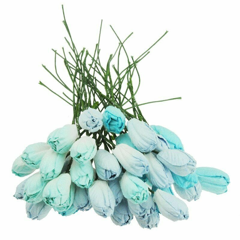 Mulberry Paper Tulips 10mm - Mixed Blues