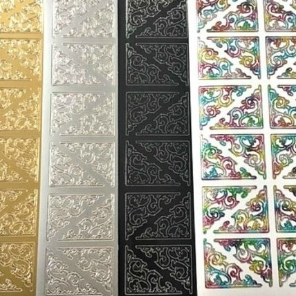 Large Ornamental Corners Peel Off Sticker Sheet