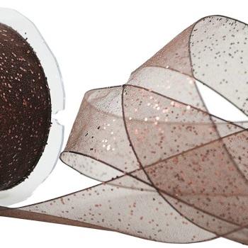 40mm Wide Berisfords Super Sparkly Random Glitter Wired Ribbon - Brown