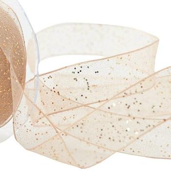 40mm Wide Berisfords Super Sparkly Random Glitter Wired Ribbon - Honey Gold
