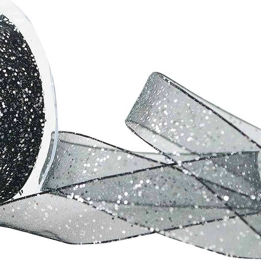 15mm Wide Berisfords Super Sparkly Random Glitter Wired Ribbon - Black