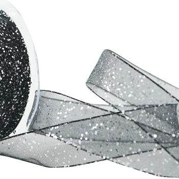 25mm Wide Berisfords Super Sparkly Random Glitter Wired Ribbon - Black