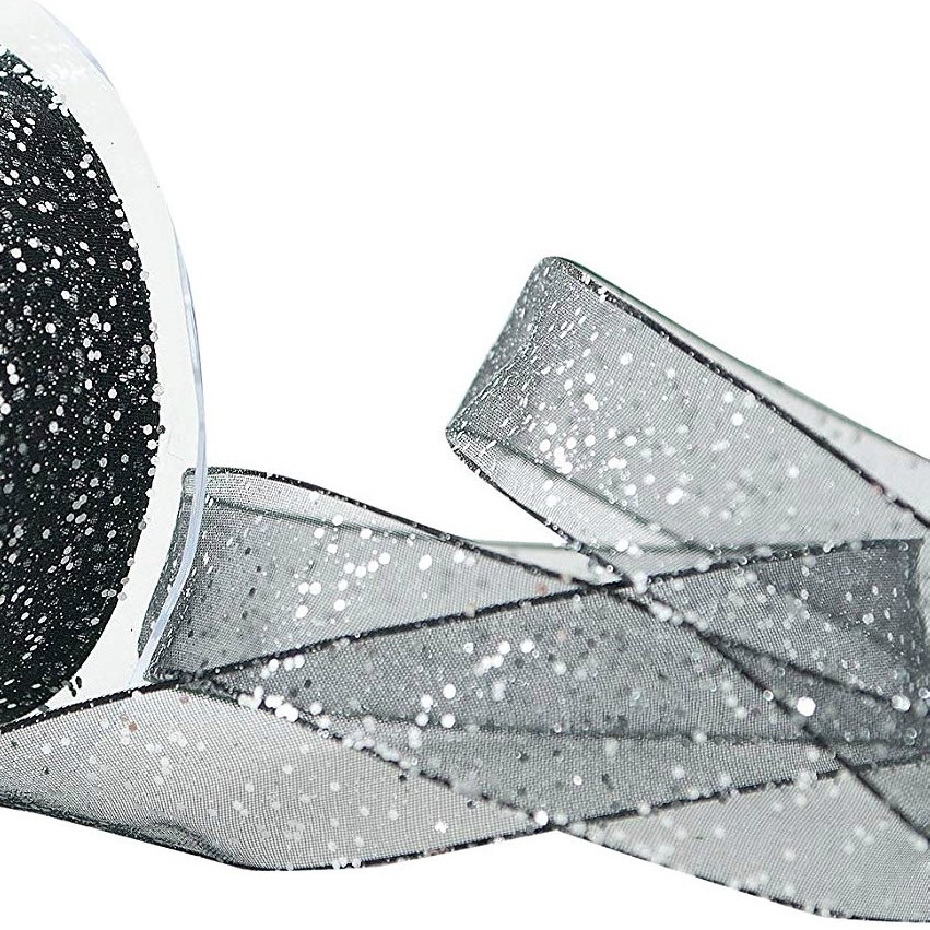 25mm Wide Berisfords Super Sparkly Random Glitter Wired Ribbon - Black