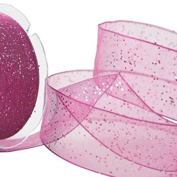 40mm Wide Berisfords Super Sparkly Random Glitter Wired Ribbon - Shocking Pink