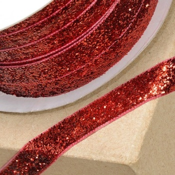 10mm Wide Velvet Glitter Ribbon - Red