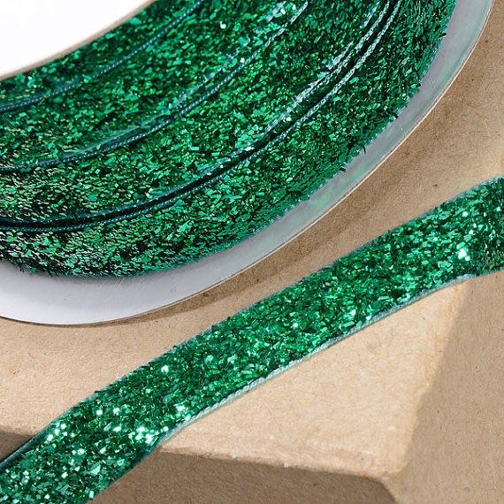 10mm Wide Velvet Glitter Ribbon - Green