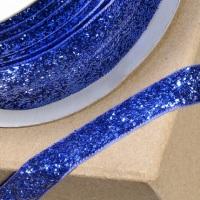 10mm Wide Velvet Glitter Ribbon - Royal Blue