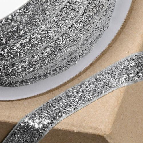 10mm Wide Velvet Glitter Ribbon - Silver