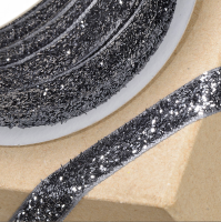 10mm Wide Velvet Glitter Ribbon - Grey/Black