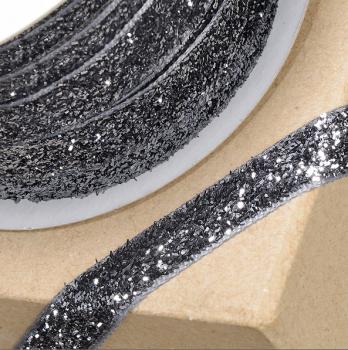 10mm Wide Velvet Glitter Ribbon - Grey/Black